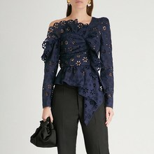 Women Long Sleeve Sexy Off Shoulder Lace Shirts Hollow Out Asymmetrical Tops Fashion Solid Blouse off shoulder cut out floral blouse