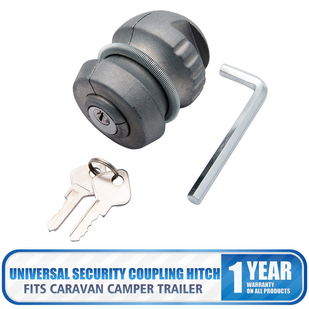 Universal Insertable Hitch Coupling Lock Trailers Locks Caravans Security 2 keys