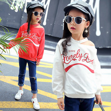 Childrens clothing spring and autumn 2019 new cotton creative off-the-shoulder letters sweater girls clothes