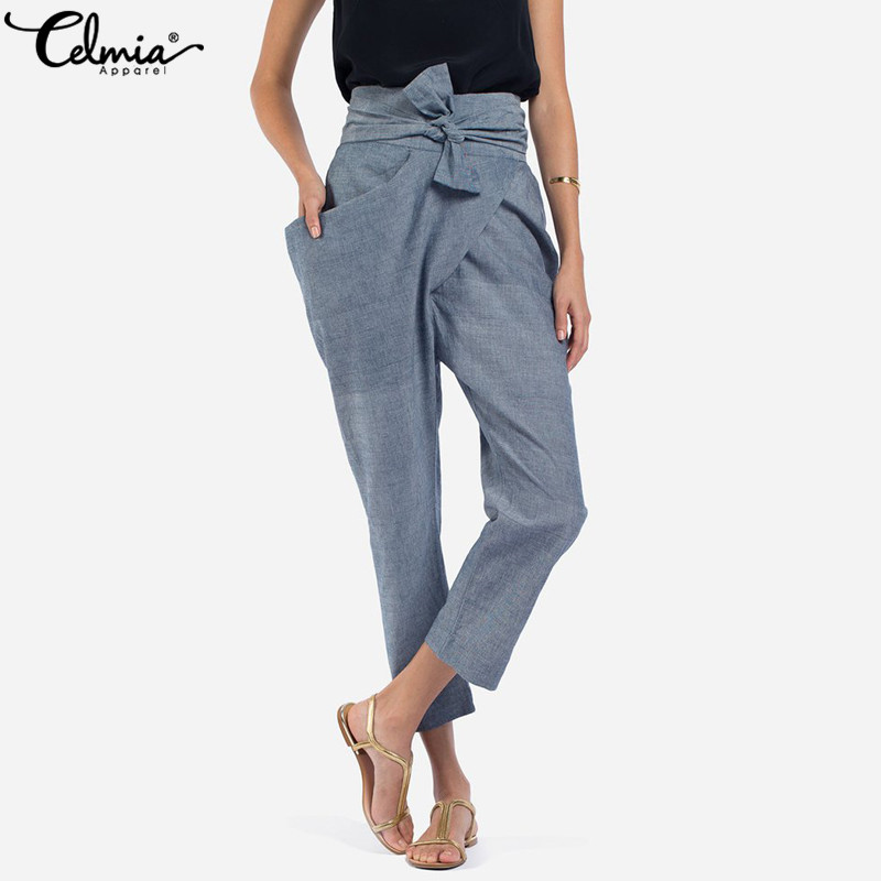 Celmia 2018 Women Chic Pants Casual High Waist Irregular Trousers Side Zip Big Pockets Belt Harajuku Office Ladies Pencil Pants