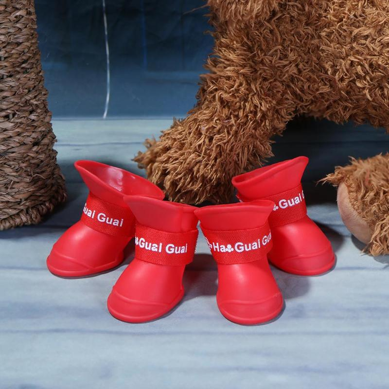 4pcs/lot Anti-slip Pet Dog Shoes Waterproof Rain Snow Boots Silicone Pet Puppy Dog Teddy Chihuahua Shoes Pet Products