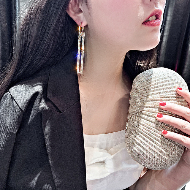 FYUAN Fashion Long Geometric Drop Earrings Luxury Gold Silver Color Rectangle Rhinestone Earring for Women Party Jewelry Gift 2