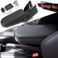 Black Leather Armrests Box Storage Case With Cup Holder For Volkswagen For VW For Polo 6R 2011 2012 2013 2014 2015 2016