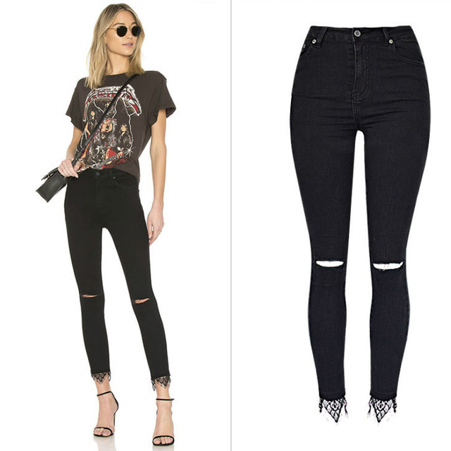 687d579a4c54d High Waist Slim Black Skinny Jeans Women Fashion Knee Hole Hollow Out High  Street Lace Denim Pants Elasticity Vaqueros Mujer