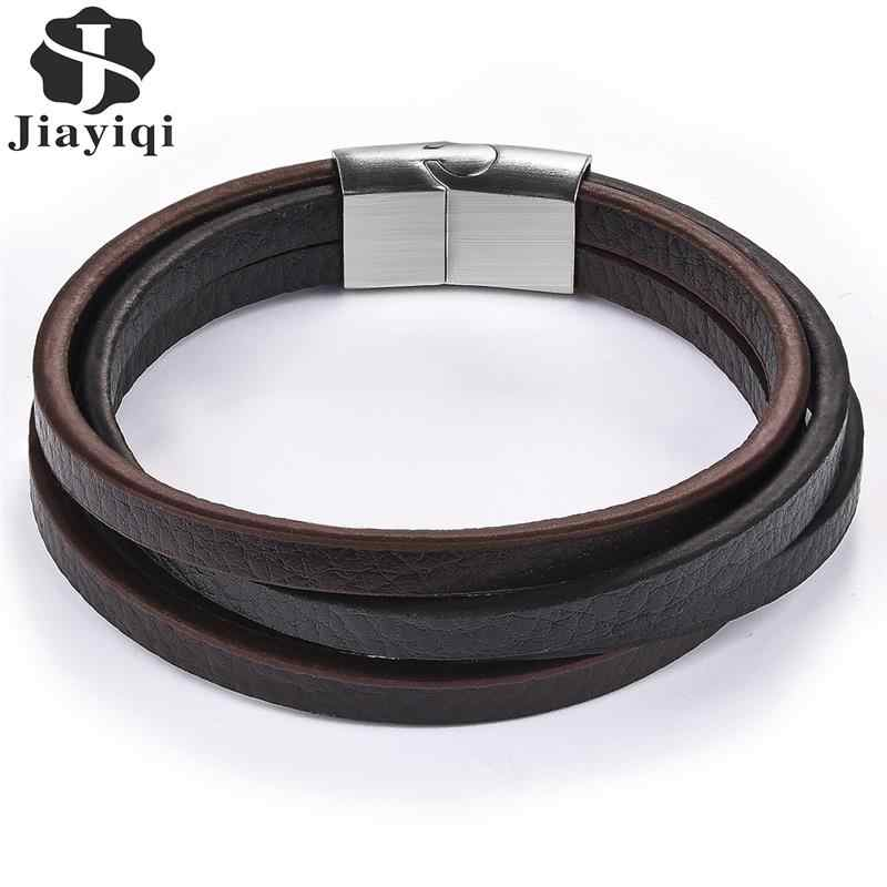 Jiayiqi Punk Multilayer Leather Men Bracelets Black Silver Stainless Steel Magnetic Clasps Classic Wristbands Gift Male Jewelry