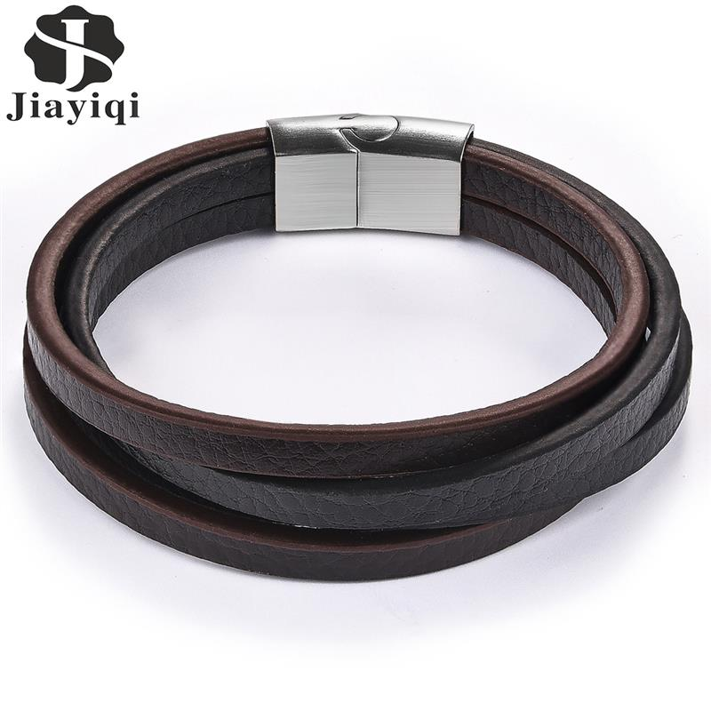 Jiayiqi Punk Multilayer Leather Men Bracelet Black Silver Color Stainless Steel Magnetic Clasps Classic Wristband Male Jewelry