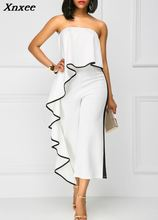 woman sexy summer ruffle white elegant combinaison femme europe and the united states jumpsuits rompers wide leg jumpsuit red цена и фото