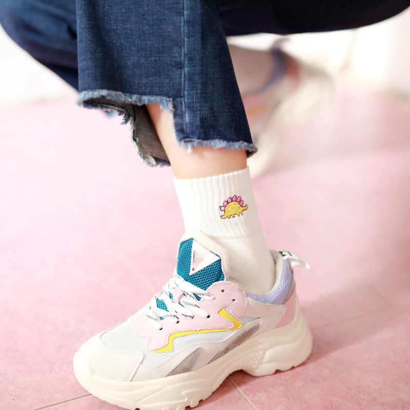 Модные милые Креативные Хлопковые женские носки с вышивкой динозавра высококачественные носки с забавными монстрами весенне-летние милые носки