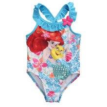 Baby Girls Mermaid Swimwear One Piece Ruffles Neck Girls Cute Cartoon Beach Wear 2018 New Arrival Cute Kids Bathing Suit