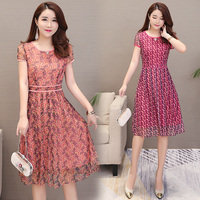 2019 Summer Women dress Short Sleeve Slim Chiffon Mother Day 35 50 Years Old Woman In Long Dresses Pink Rose 1517