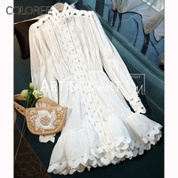 Runway Designer Cotton And Linen Dress 2019 Vintage White Hollow Out Lantern Sleeve Embroidery Dress Ruffles Vacation Dress