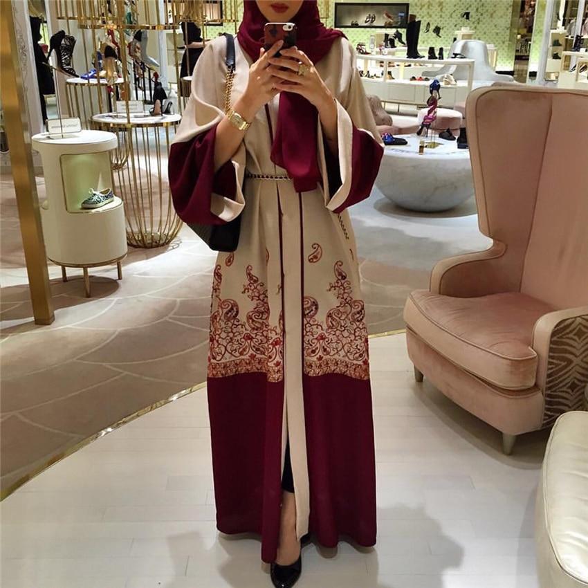 Loose Style Plus Size Female Muslim Abaya Dress Turkish Kaftan Cardigan with Belt Islamic Ramadan Wear Embroidery Woman Robe
