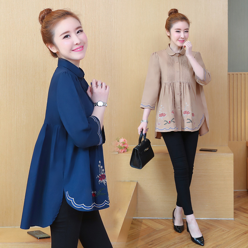 Plus Size Peplum Top Korean Casual Women Long Shirt 2019 Spring Three Quarter Sleeve Turn Down Collar Embroidery Blouses 4XL 5XL in Blouses amp Shirts from Women 39 s Clothing