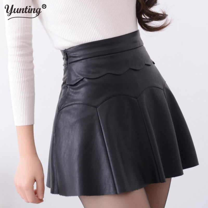 New 2019 Russia Fashion Black Red high quality leather Skirt Women Vintage High Waist Pleated Skirt Female Short Skirts image
