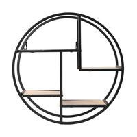Multi grid Circular Wood Iron Shelf Round Flower Wall Mounted Storage Rack Organization For Bedroom Kitchen Home Decor
