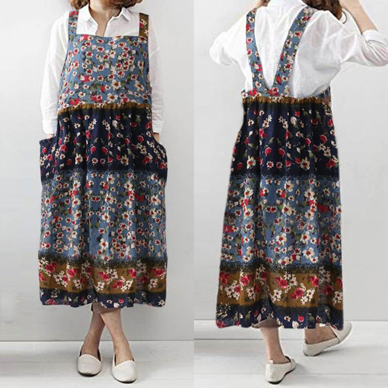 Boho Print Overalls Dress 2019 Summer Women's Sundress Fashion Cooking Kitchen Apron Dress Plus Size Strap Vestidos Robe Femme