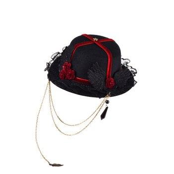 Women Retro Victorian Mini Top Hat Hair Clip Punk Gothic Ribbon Chains Roses Decoration Headwear Hair Accessories