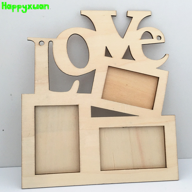 Happyxuan 3pcs Kid Creative DIY Crafts And Arts Handmade Wooden Love Picture Photo Frames White Mold Painting Kindergarten Toys
