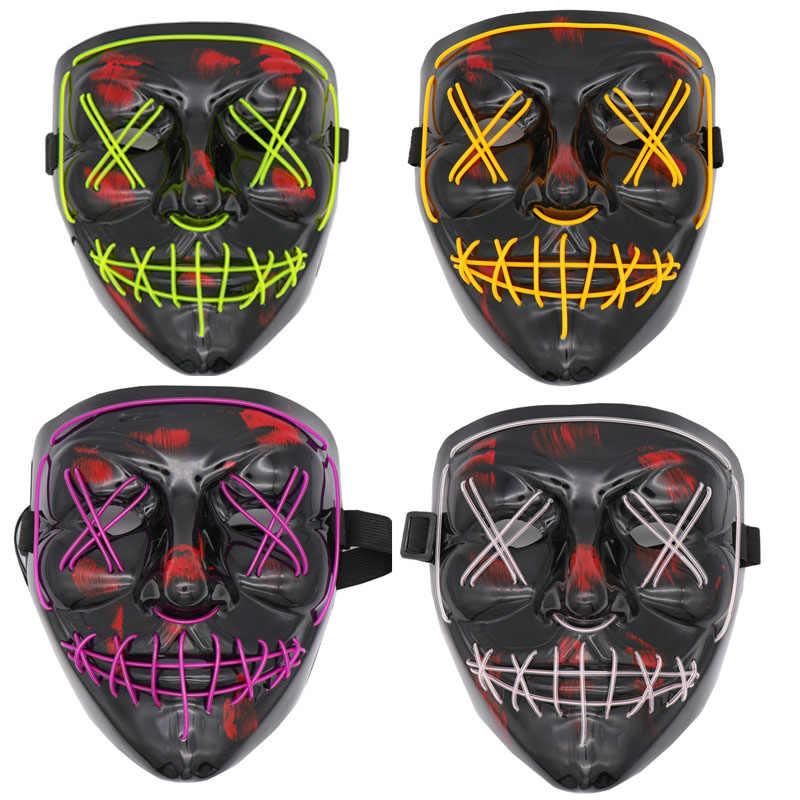 Gorąca sprzedaż Halloween maska LED Light Up śmieszne maski na rok wyborczy wielki festiwal Cosplay kostium akcesoria maski imprezowe