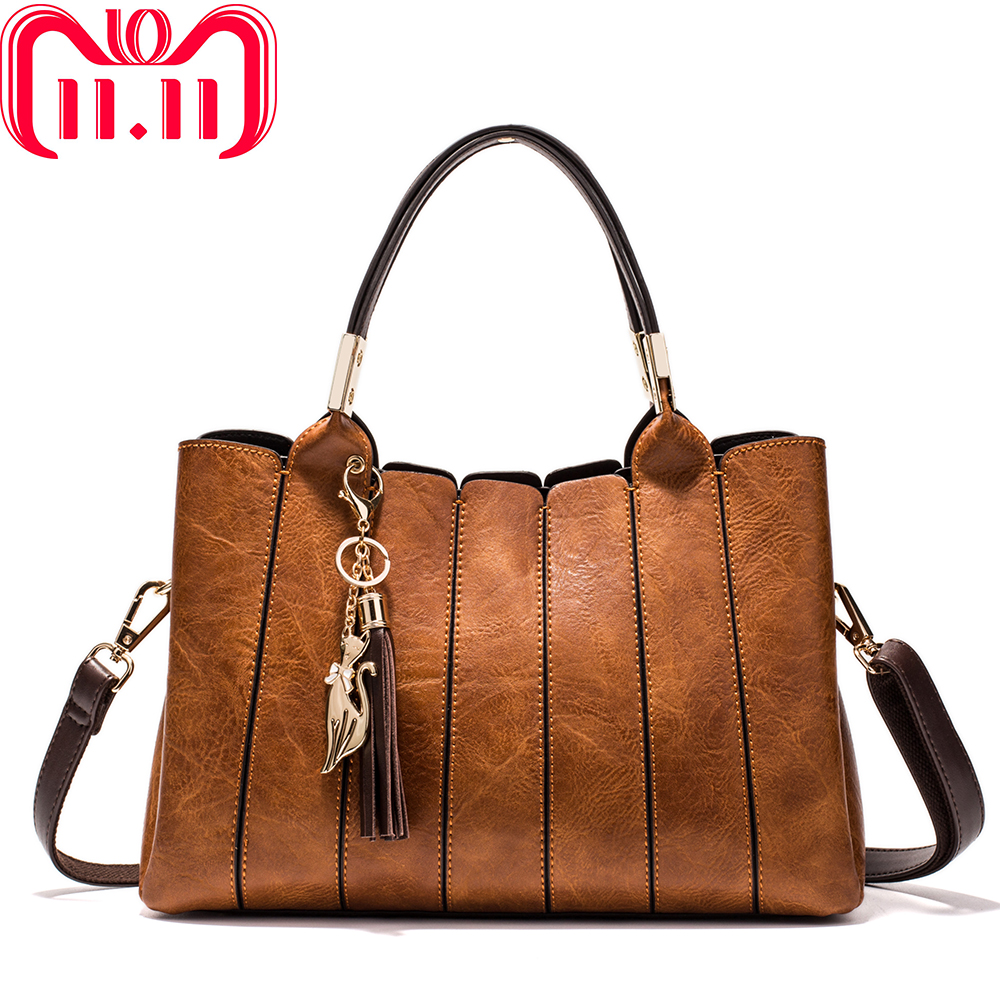 MIYACO Luxury Women Handbag Vintage brown Female Totes Shoulder Bag Messenger Bag Leather Top-HandBags with tassel fox цены онлайн