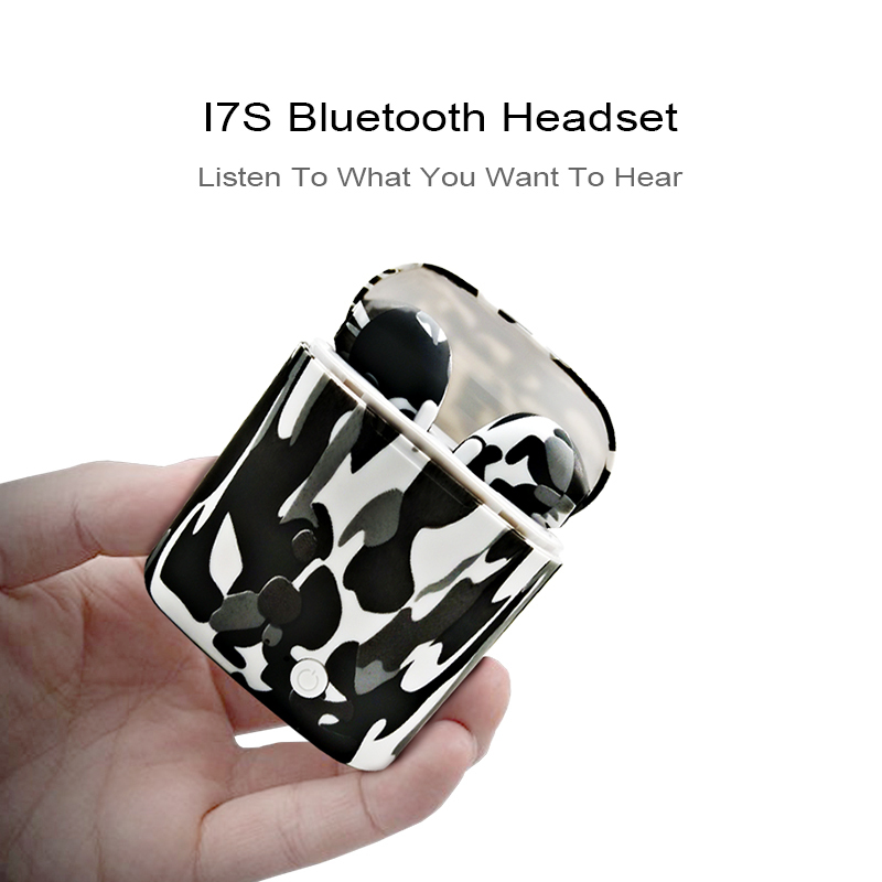 I7S TWS camo Earbuds Ture Wireless Bluetooth Double Earphones Twins Earpieces Stereo Music Headset For All Bluetooth Mobile in Bluetooth Earphones Headphones from Consumer Electronics