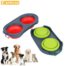 RFWCAK Pocket-portable Folding Silicone Dog Double Bowl Travel Bowls Dog Feeder Water Food Container Cat Puppy Pet Accessories(China)