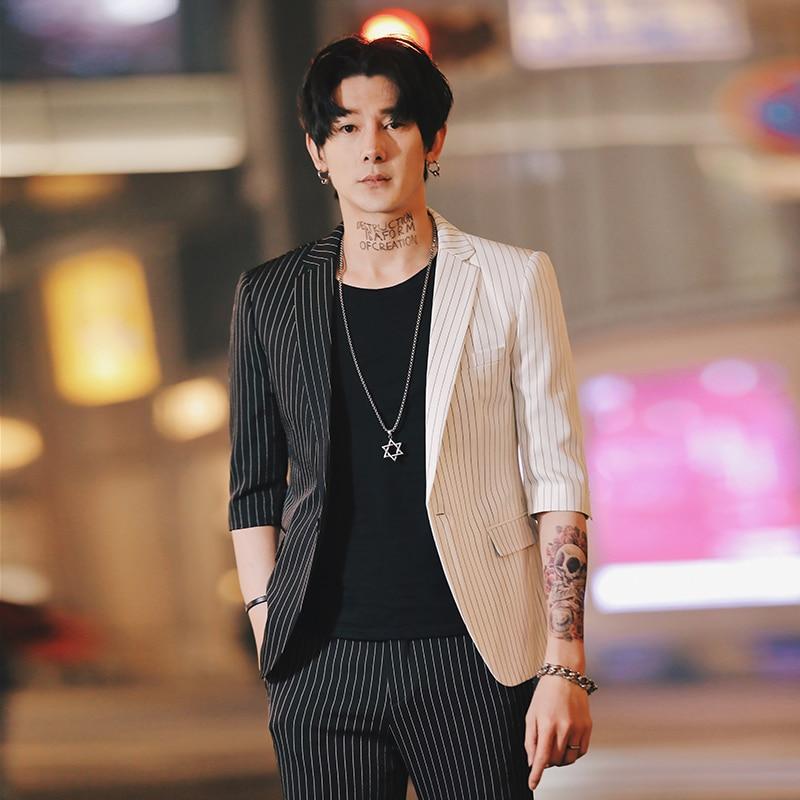 Sommer Streifen Herren Blazer Koreanische Anzug jacke Für Männer Gedruckt Blazer Slim Fit Social Club Mens Rauchen Para Hombre Homme-in Blazer aus Herrenbekleidung bei  Gruppe 1