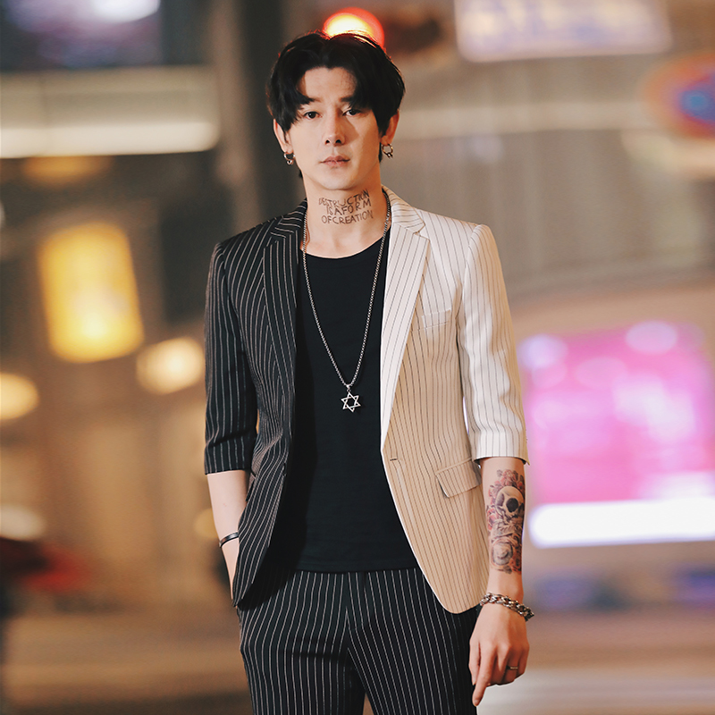 Summer Stripe Mens Blazers Korean Suit Jacket For Men Printed Blazer Slim Fit Social Club Mens Smoking Para Hombre  Homme