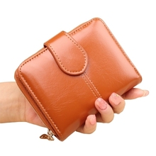 Short Coin Purse Female Pu Leather Bag Student Small Wallet Wax Handle Wrap Large Capacity