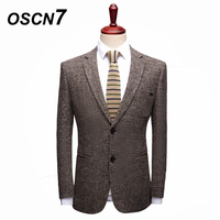 OSCN7 Khaki Check Blazer Men Plus Size Casual Business Mens Blazer Jackets Formal Jaqueta Masculino DH820