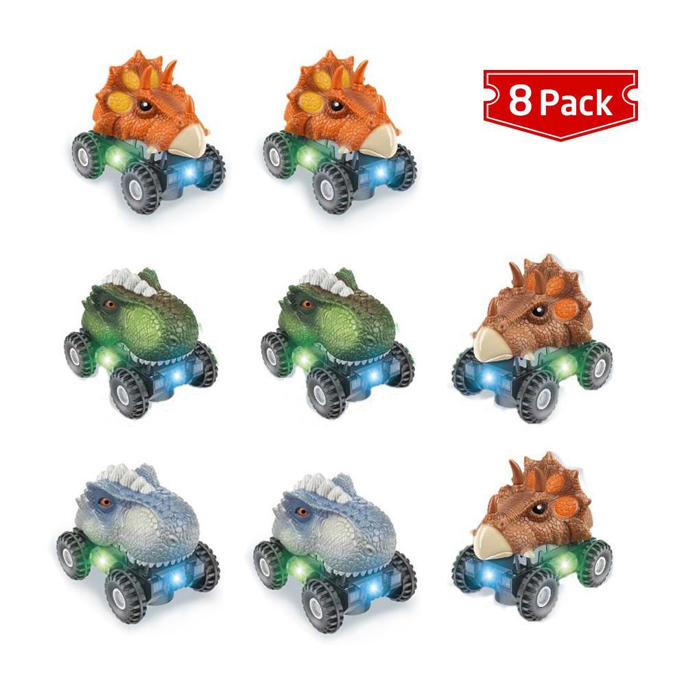 Dinosaur Pull Back Cars Animal Model Toys with LED Light Sound Creative Vehicles Set 8 Pcs Toy Car Gift for Kids Children