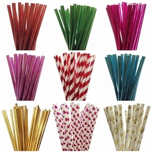 25pcs/lot Foil Gold/Silver Color Paper Straws Mickey Mouse Cake Flags For Kids Birthday Wedding Decoration Party Event Supplies