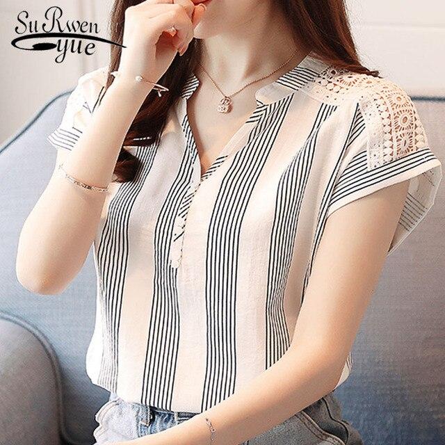 e9ccbf4b0fb New 2018 Summer Women Shirt Short Sleeve Chiffon Causal Lady Simple Female  Blouse Elegant Lace V-neck Shirt Striped Tops D635 30
