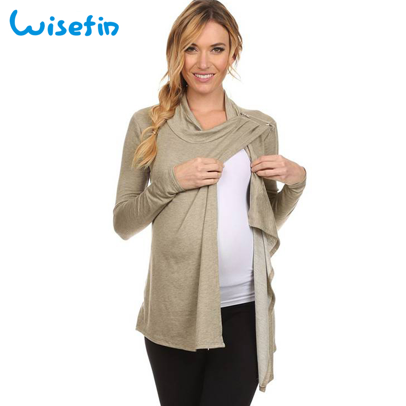 71814848ea5 Wisefin Plus Size Maternity Clothes 5XL Nursing Top Breastfeeding Clothes  Loose Pregnancy Shirt ropa maternal Zipper T Shirt Top-in Tees from Mother    Kids ...