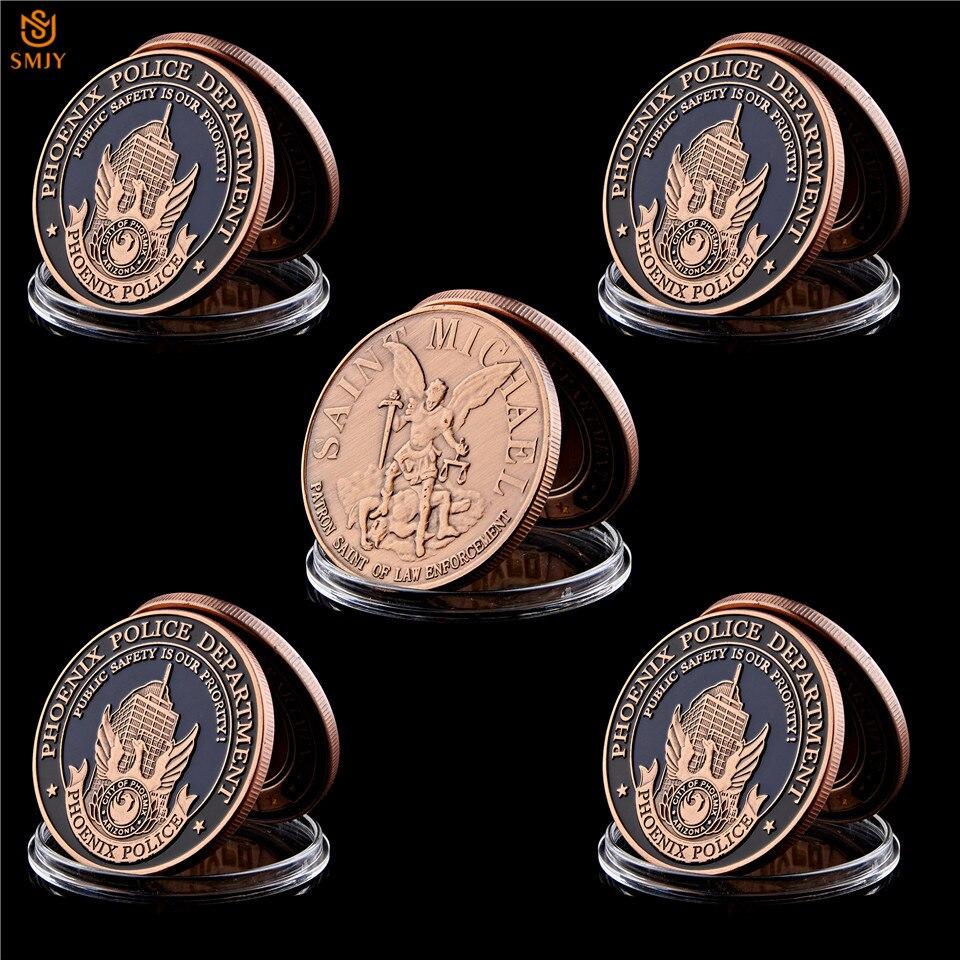 5pcs Copper Eagle Challenge Coin American Phoenix Police Saint Michael Coin