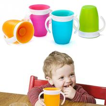 360 градусов вращающаяся бутылочка для воды для младенцев, безопасная непротекающая чашка с двойной ручкой, тренировочная детская обучающая чашка для питья