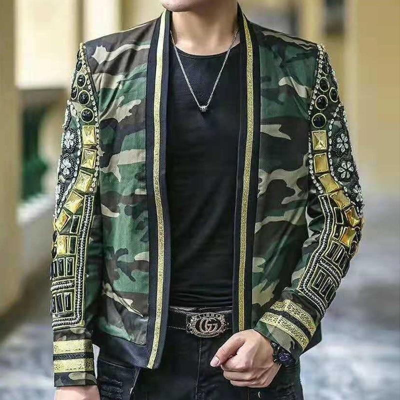 Autumn Winter Man Suit Heavy Nail Pearl Leisure Time Small Suit Jacket Blazer Hombre Singer Jacket Men DJ Host Men Blazer Jacket