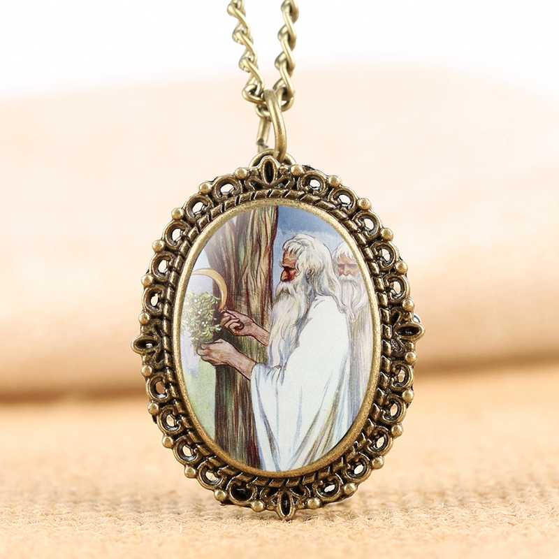 Vivid Christmas Oil Painting Display Quartz Pocket Watch Chain Retro Bronze Pendant Necklace Souvenir Clock Old Men Collectibles