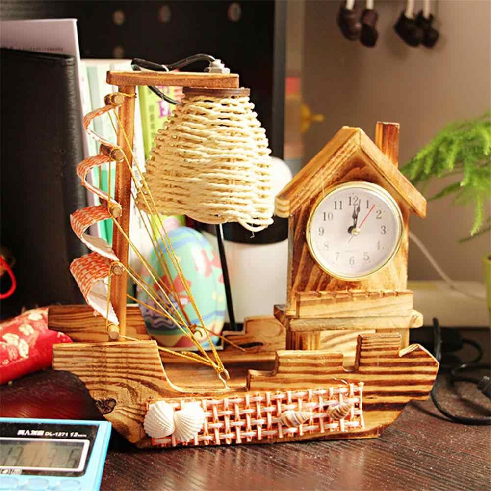 Adeeing 220 В 15 Вт деревянный художественный парусный спорт с часами дизайн настольная лампа ночник теплый желтый свет украшение гостиной