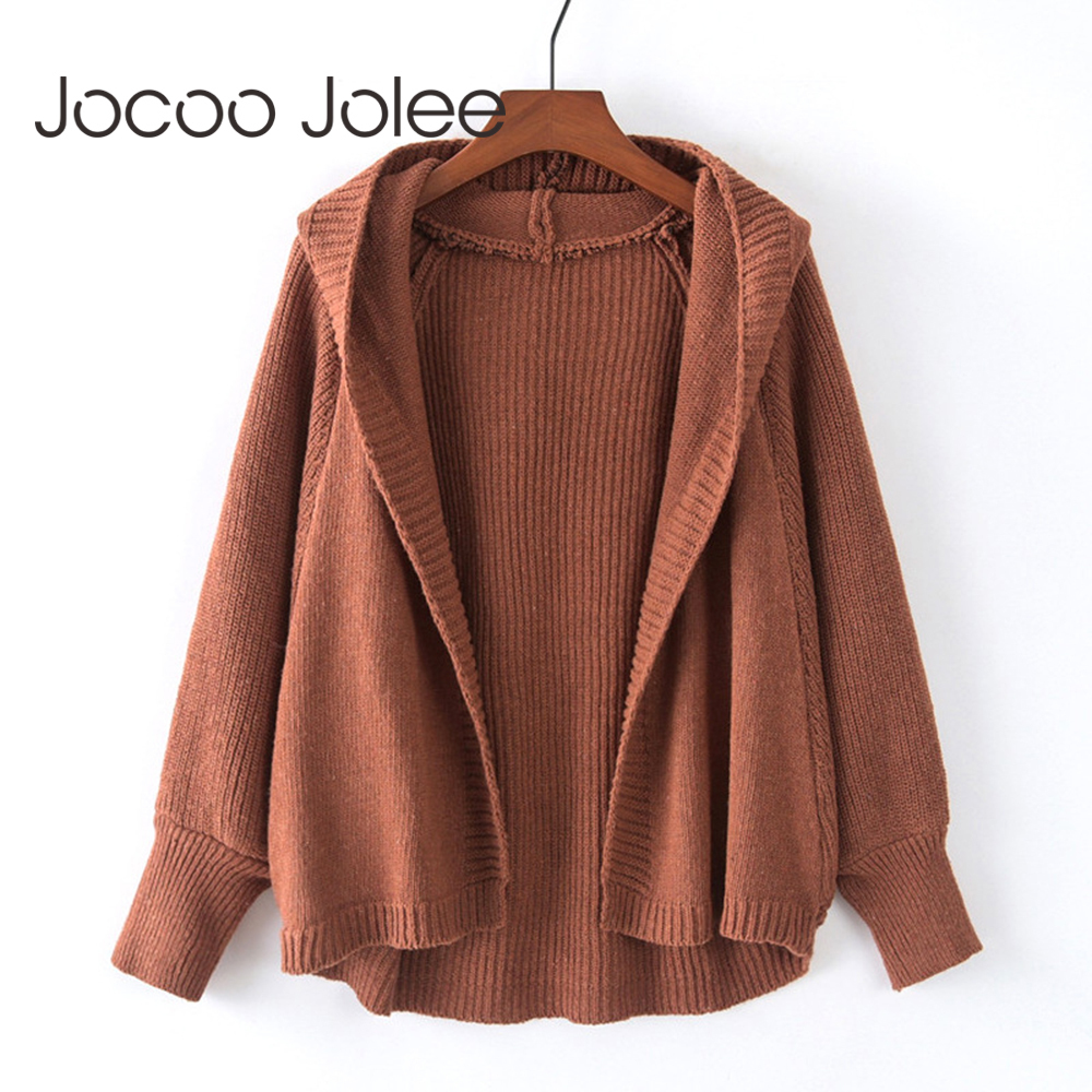 Jocoo Casual Batwing Sleeve Knitted Hooded Cardigan Oversize Sweaters Fashion Women 2019 Autumn Streetwear Jumpers Coat