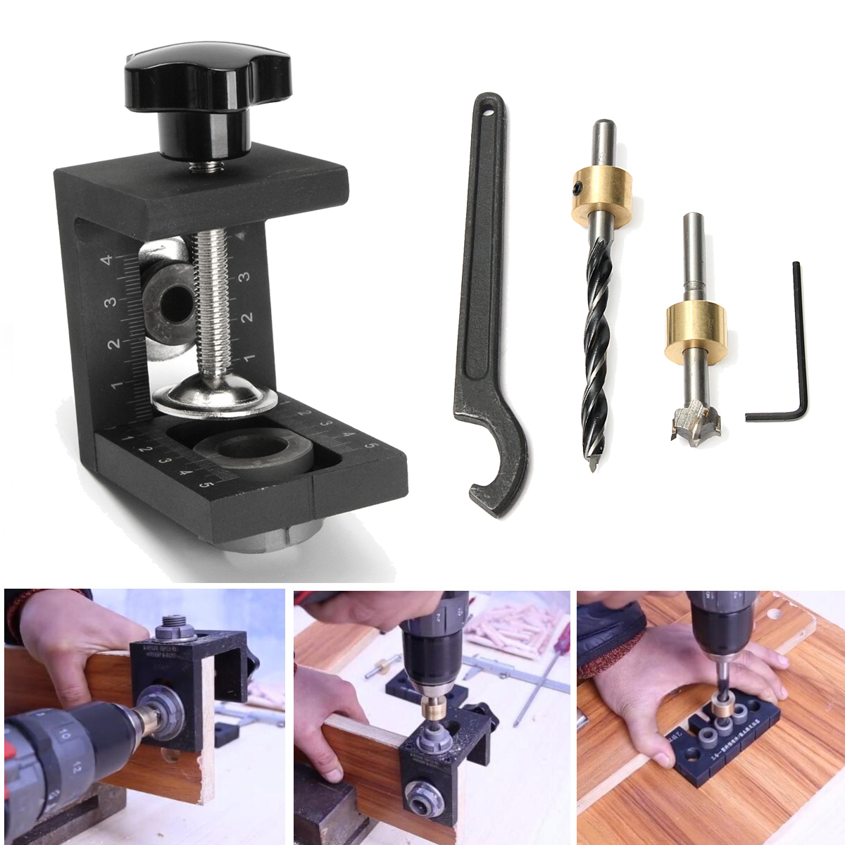 Woodworking Pocket Hole Jig Kit Step Drilling Dowelling Jig Set Carpentry Wood Dowel Drilling Guide Locator Tool 6 8 10mm conductor for drilling mini pocket hole jig woodworking drill guide set locator dowel jig guide power tools