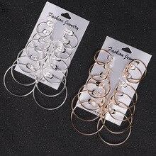 Серьги для Для женщин 6 пар/компл. Винтаж цвет серебристый, золотой большой круг Для женщин стимпанк уха металлический зажим
