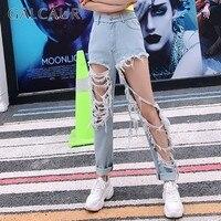 GALCAUR Spring Denim Trouser For Women High Waist Ripped HoleTassel Big Size Jeans Female Streetwear Fashion 2019 New Tide