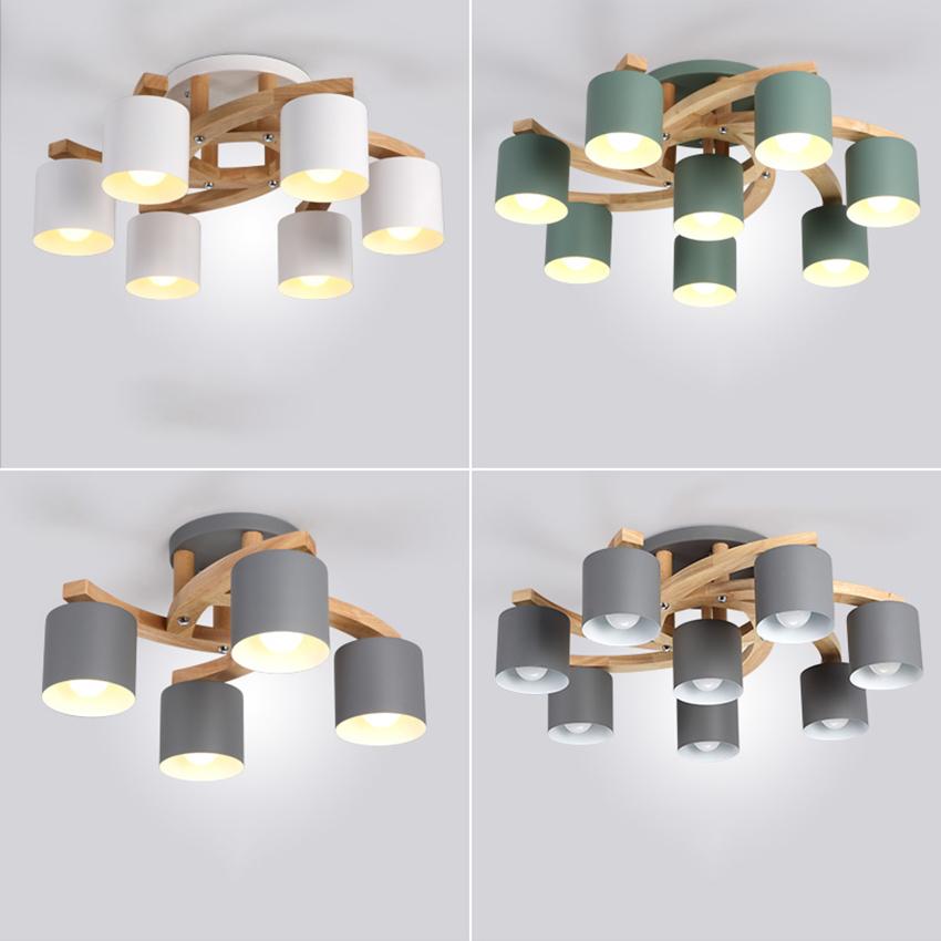 Nordic Wood E27 Ceiling Lamp Art Iron Ceiling Light Lighting Bedroom Living Room LED Kitchen Dining Bar Luminaire Fixtures Avize