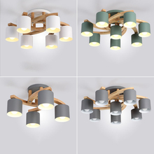 Nordic Wood E27 Ceiling Lamp Art Iron Ceiling Light Lighting Bedroom Living Room LED Kitchen Dining Bar Luminaire Fixtures Avize цена