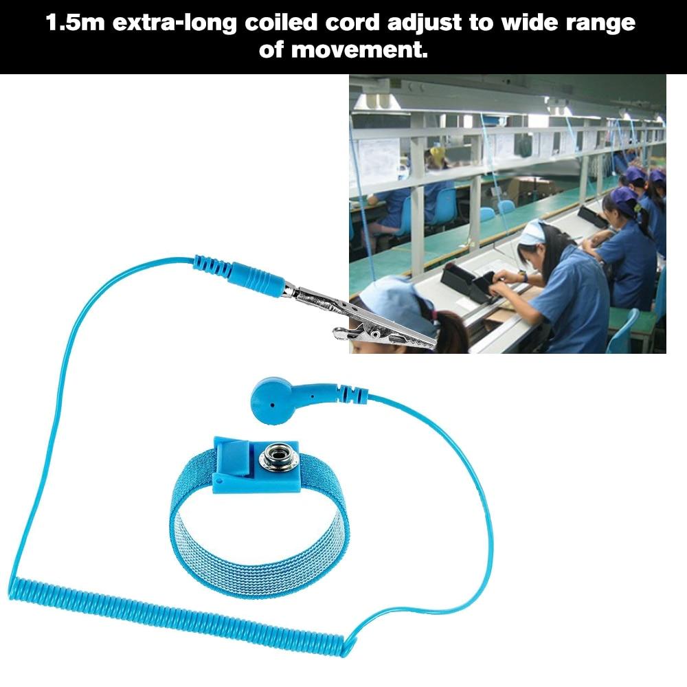 Pvc Anti-static Wrist Strap Band Esd Discharge Antistatic Wrist Belt Blue