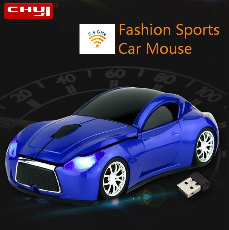 CHYI Wireless Ergonomic Computer Car Mouse Mini Optical Portable Usb PC Mause With LED Headlight Infinite Gifts Mice For Laptop