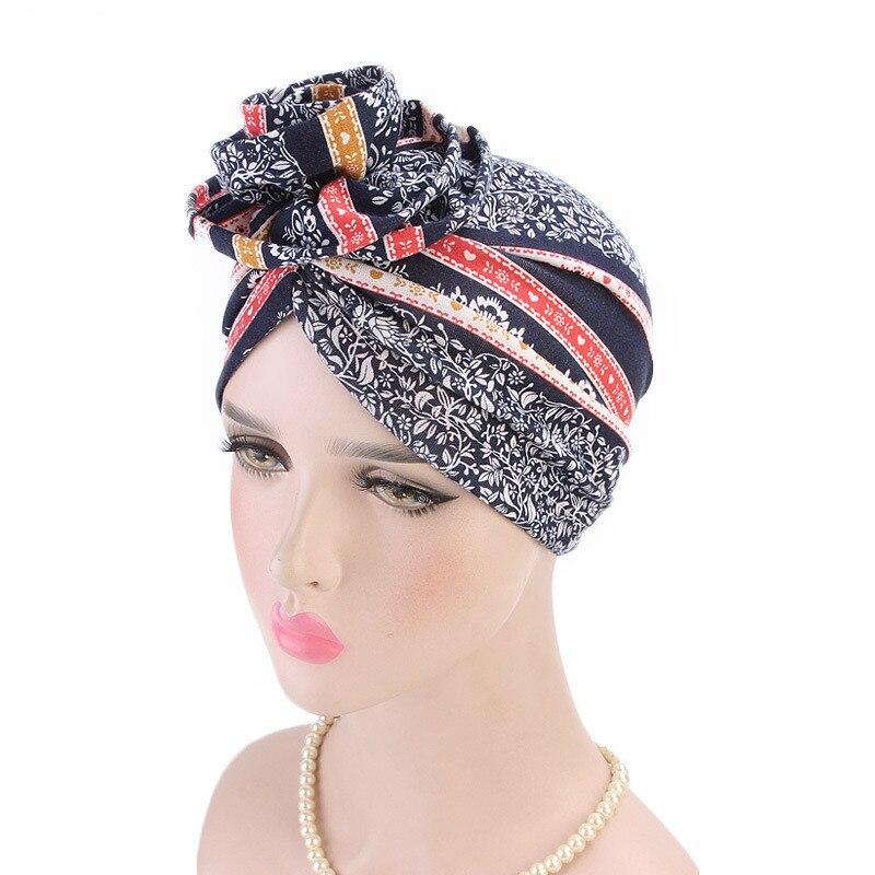 Europe And America Flower Turban Long Women Baggy Chemo Cap Boho Bandana Hat Hijab Headwrap Slouch Caps Print Beanie   Headwear