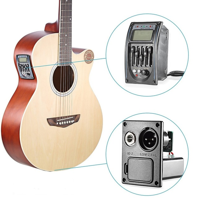 גיטרה נהג LC-5 5 להקות גיטרה אקוסטית ילדי כלי נגינה צעצוע Preamp טנדר EQ Preamp LCD טיונר Piezo איסוף