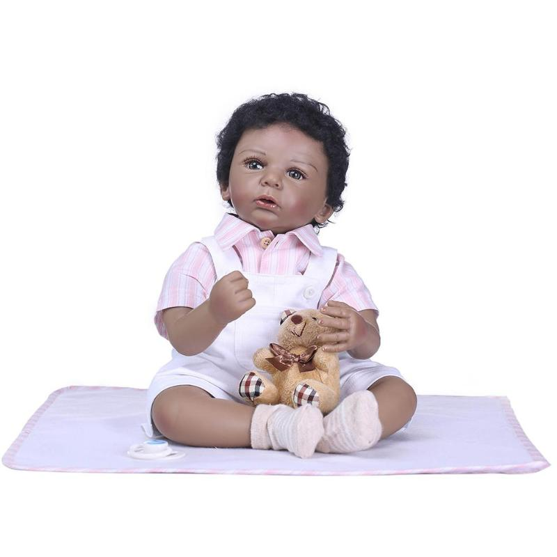 Mini NPK  50CM Full Silicone Reborn Doll Native Black Skin Boy Doll Realistic Bebes Play House Boneca Toys For Girls GiftMini NPK  50CM Full Silicone Reborn Doll Native Black Skin Boy Doll Realistic Bebes Play House Boneca Toys For Girls Gift